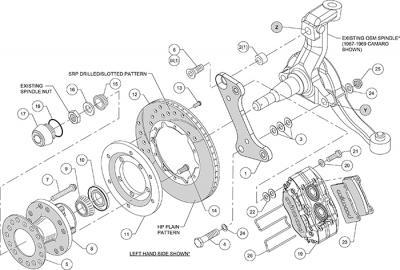 Kit de frenos delantero 4 pistones Chevrolet Camaro 1967 1969