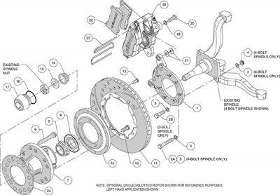 """Kit frenos Wilwood 11"""" Perforado Rojas Ford Mercury 1965 1969"""